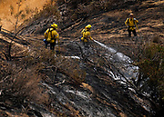 A firefighter douses the hot spots on brush fire near a hill side in Burbank, California, the United States on September 3, 2017. More than 1,000 firefighters battling what the mayor had called the biggest brush fire in the city of Los Angeles history.  (Xinhua/Zhao Hanrong)(Photo by Ringo Chiu)<br /> <br /> Usage Notes: This content is intended for editorial use only. For other uses, additional clearances may be required.