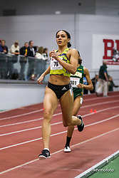 Bruce LeHane Scarlet and White<br /> Indoor Track & Field<br /> womens 800, Brenna Detra, BAA, adidas, win