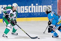 Andrej Hebar (HDD Tilia Olimpija, #84) vs Franklin MacDonald (EHC Liwest Black Wings Linz, #5) during ice-hockey match between HDD Tilia Olimpija and EHC Liwest Black Wings Linz in 19th Round of EBEL league, on November 7, 2010 at Hala Tivoli, Ljubljana, Slovenia. (Photo By Matic Klansek Velej / Sportida.com)