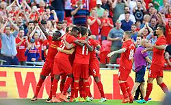 LONDON, ENGLAND - Saturday, August 6, 2016: Liverpool's Divock Origi celebrates scoring the third goal against Barcelona during the International Champions Cup match at Wembley Stadium. (Pic by David Rawcliffe/Propaganda)