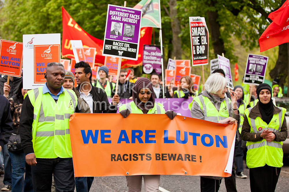Luton, UK. 5th May, 2012. Supporters of We Are Luton and Unite Against Fascism attend the We Are Luton/Stop The EDL march, organised in protest against a march by around 3,000 supporters of the far-right English Defence League.