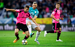 James McArthur of Scotland nvs Jasmin Kurtic of Slovenia during football match between National Teams of Slovenia and Scotland of Fifa 2018 World Cup European qualifiers, on October 8, 2017 in SRC Stozice, Ljubljana, Slovenia. Photo by Vid Ponikvar / Sportida