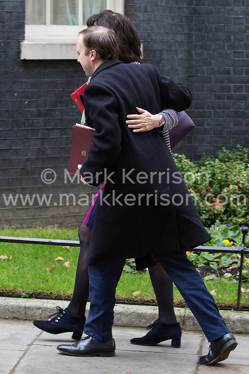 London, UK. 18th December, 2018. Matt Hancock MP, Secretary of State for Health and Social Care, and Claire Perry MP, Minister for Energy and Clean Growth at the Department of Business, Energy and Industrial Strategy, arrive at 10 Downing Street for the final Cabinet meeting before the Christmas recess. Topics to be discussed were expected to include preparations for a 'No Deal' Brexit.