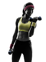 one woman exercising fitness workout weight training in silhouette on white background