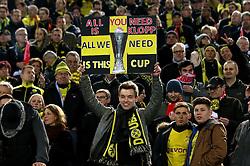 A Borussia Dortmund fan holds up a banner - Mandatory by-line: Robbie Stephenson/JMP - 07/04/2016 - FOOTBALL - Signal Iduna Park - Dortmund,  - Borussia Dortmund v Liverpool - UEFA Europa League Quarter Finals First Leg