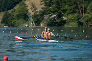 Lucerne, SWITZERLAND, 13th July 2018, Friday, POL W2X., Bow, Krystyna LEMANCZYK-DOBRZELAK and Martyna MIKOLAJCZAK, before their heat of the women's Dpuble Sculls, start area, FISA World Cup series, No.3, Lake Rotsee, © Peter SPURRIER/Alamy Live News