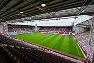 General view inside Tynecastle Park, Edinburgh, Scotland before the Cinch SPFL Premiership match between Heart of Midlothian and Hibernian on 12 September 2021.