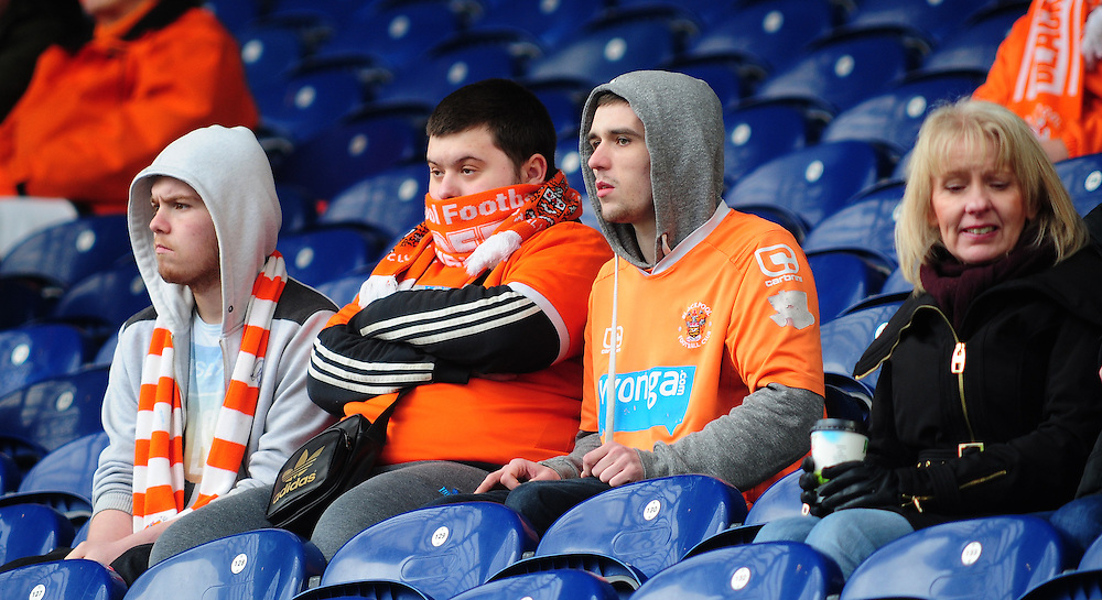 Blackpool fans during the pre-match warm-up <br /> <br /> Photographer Chris Vaughan/CameraSport<br /> <br /> Football - The Football League Sky Bet Championship - Blackburn Rovers v Blackpool - Saturday 21st February 2015 - Ewood Park - Blackburn<br /> <br /> © CameraSport - 43 Linden Ave. Countesthorpe. Leicester. England. LE8 5PG - Tel: +44 (0) 116 277 4147 - admin@camerasport.com - www.camerasport.com