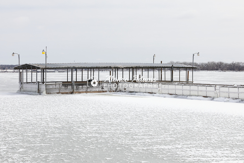 Frozen Lake Overholser in Oklahoma City on Saturday, Febrary 13, 2021. Photo copyright © 2021 Alonzo J. Adams.