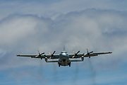 A Japan Self Defence Force (JSDF) Lockheed C130 Hercules ,flying near Atsugi Base in Kanagawa, Japan. Friday June 29th 2018