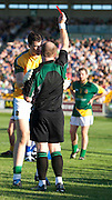 Senior Football Championship Quarter Final Replay. Meath vs Laois 19/6/10.Paddy O`Rourke is shown the red card by Referee Maurice Condon for a controversial incident with Laois captain, Padraig McMahon in the second half.Photo: David Mullen /www.cyberimages.net