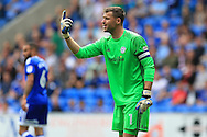 David Marshall, the Cardiff city goalkeeper looks on. EFL Skybet championship match, Cardiff city v Queens Park Rangers at the Cardiff city stadium in Cardiff, South Wales on Sunday 14th August 2016.<br /> pic by Andrew Orchard, Andrew Orchard sports photography.