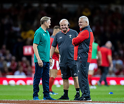 Head Coach Warren Gatland of Wales with Head Coach Joe Schmidt of Ireland during the pre match warm up<br /> <br /> Photographer Simon King/Replay Images<br /> <br /> Friendly - Wales v Ireland - Saturday 31st August 2019 - Principality Stadium - Cardiff<br /> <br /> World Copyright © Replay Images . All rights reserved. info@replayimages.co.uk - http://replayimages.co.uk