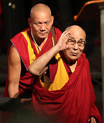The Dalai Lama addresses a charity event marking the 20th anniversary of the charity Children in Crossfire to celebrate 20 years of the ground-breaking organisation's work, at the Millennium Forum, during a visit to Londonderry.