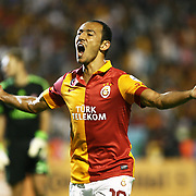 Galatasaray's player Umut Bulut after his goal on Turkish Super Cup 2012 soccer derby match Galatasaray between Fenerbahce at the Kazim Karabekir stadium in Erzurum Turkey on Sunday, 12 August 2012. Photo by TURKPIX