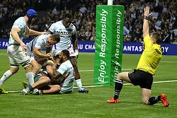 December 9, 2018 - Nanterre, Hauts de Seine, France - joy of the Racing 92 Center VIRIMI VAKATAWA after scoring the first try of his team on the third day of the Rugby Champions Cup between Racing 92 and Leicester at the U Arena stadium in Nanterre - France..Racing 92 Won 36-26. (Credit Image: © Pierre Stevenin/ZUMA Wire)