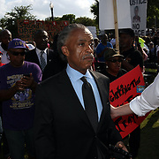 The Reverand Al Sharpton arrives during a rally for the shooting of Trayvon Martin on Thursday,March 22, 2012 at Fort Mellon Park in Sanford, Florida. (AP Photo/Alex Menendez) Trayvon Martin rally in Sanford, Florida.