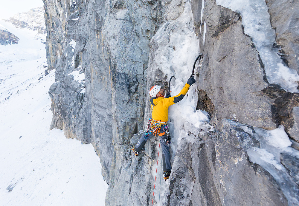 Jeff Mercier climbing the second pitch of Buddha Nature, Storm Creek, BC