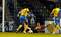 Photo: Richard Lane.<br />Bristol Rovers v Wycombe Wanderers. Coca Cola League 2. 08/08/2006. <br />Wycombe's Kevin Betsy scores his team's first goal.