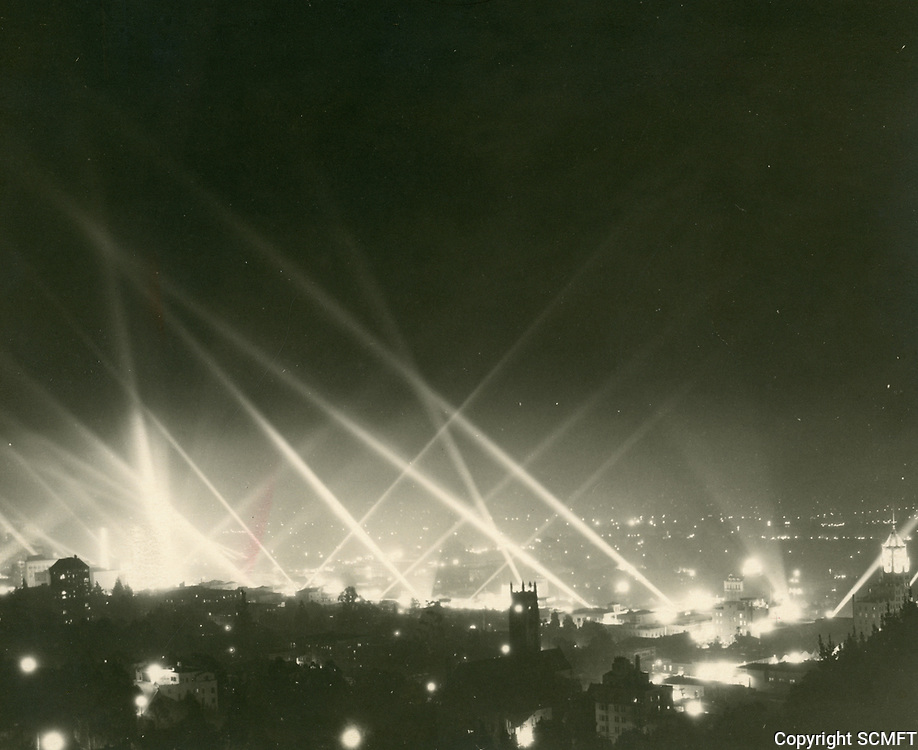 1946 Searchlights pierce the night sky in Hollywood