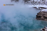 Excelsior Spring in winter in Yellowstone National Park, Wyoming, USA