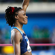 United States' Chaunte Lowe celebrates winning the gold medal in the Women's High Jump during the IAAF World Indoor Championships at the Atakoy Athletics Arena, Istanbul, Turkey. Photo by TURKPIX