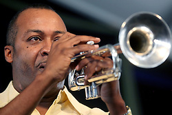 28 April 2012. New Orleans, Louisiana,  USA. .New Orleans Jazz and Heritage Festival. .Jazz Trumpeter  Jamil Sharif..Photo; Charlie Varley.