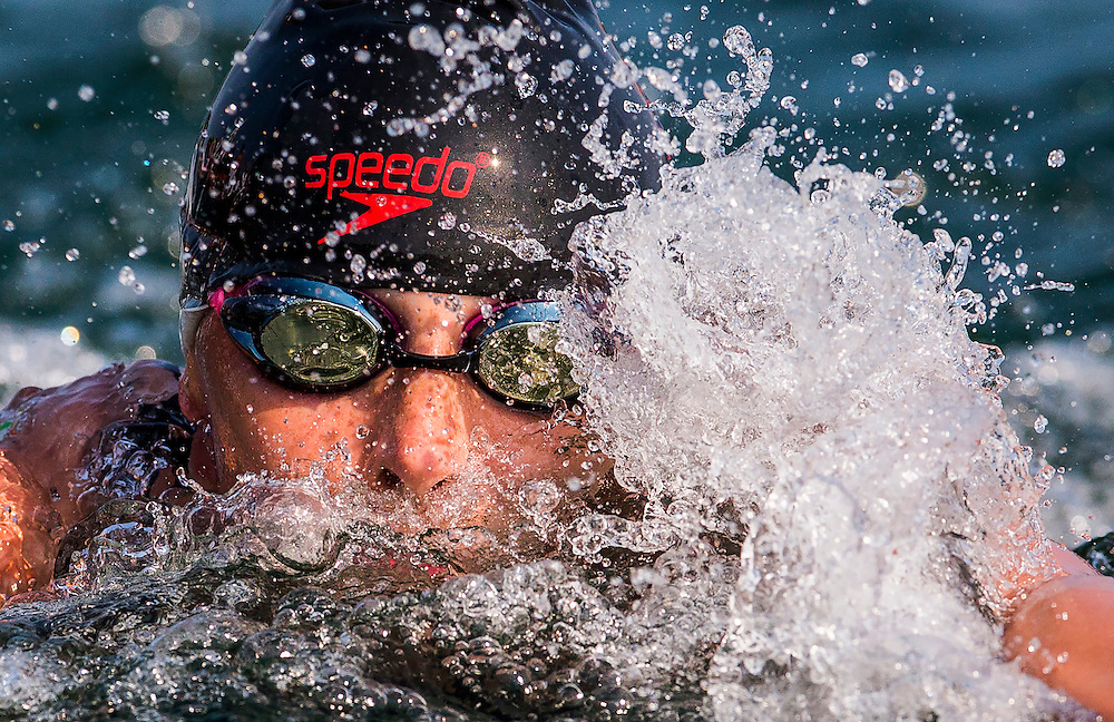 Jade Dusablon races her way to a seventh place finish during the Women's Open Water Swimming at the Pan Am Games in Toronto, Saturday July 11, 2015.