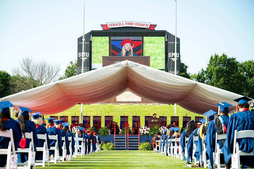 Students, faculty and guests attend the May Commencement Ceremony held in Gerald J. Ford Stadium, Saturday, May 15, 2021 on the SMU Campus.