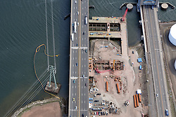 """Overview of Pearl Harbor Memorial """"Q"""" Bridge Construction near Interstate I-95 I-91 CT Route 34 Interchanges. I-95 New Haven Harbor Crossing Corridor construction project confines. Photography captured at the beginning of Contract B1 & E1 of coffer damns and pier construction."""