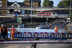 © Licensed to London News Pictures. 06/07/2020. London, UK. Severe flooding on the North Circular road at Brent Cross in North London where passengers have been rescued from vehicles and cars are stranded. Photo credit: Ben Cawthra/LNP