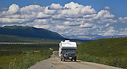 Alaska. Scenic view of driving the Denali Highway eastbound near the Nenana River.