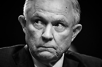 """Washington, DC  -- Attorney General Jeff Sessions offered an indignant defense on against what he called """"an appalling and detestable lie"""" that he may have colluded with the Russian effort to interfere in the 2016 election, but he declined during an often contentious Senate hearing to answer central questions about his or President Trump's conduct. Photo by Jack Gruber, USA TODAY"""
