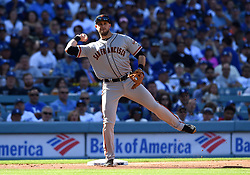 March 29, 2018 - Los Angeles, CA, U.S. - LOS ANGELES, CA - MARCH 29: San Francisco Giants Third base Evan Longoria (10) throws to first for an out during the MLB opening day game between the San Francisco Giants and the Los Angeles Dodgers on March 29, 2018 at Dodger Stadium in Los Angeles, CA. (Photo by Chris Williams/Icon Sportswire) (Credit Image: © Chris Williams/Icon SMI via ZUMA Press)