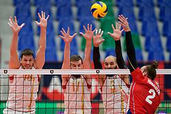 19-09-2019 NED: EC Volleyball 2019 Czech Republic - Montenegro, Amsterdam<br /> First round group D Montenegro win 3-2 / Media, TV sponsor reclame