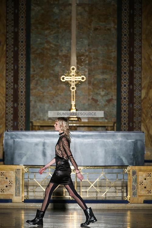 Hanne Gaby Odiele walks the runway wearing Alexander Wang Fall 2016 during New York Fashion Week on February 13, 2016