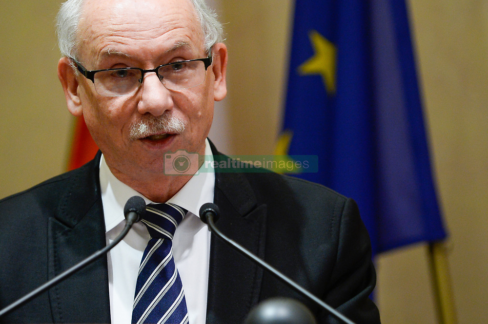 October 5, 2018 - Krakow, Poland - Janusz Antoni Lewandowski, a Polish economist, politician and former EU Commissioner for the budget and financial programming seen speaking during the opening ceremony..The XVIII INTERNATIONAL CONFERENCE; The role of the Catholic Church in the process of European integration at the International Cultural Centre. (Credit Image: © Omar Marques/SOPA Images via ZUMA Wire)