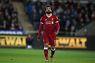 Mohamed Salah of Liverpool looks dejected. Premier league match, Swansea city v Liverpool at the Liberty Stadium in Swansea, South Wales on Monday 22nd January 2018. <br /> pic by  Andrew Orchard, Andrew Orchard sports photography.