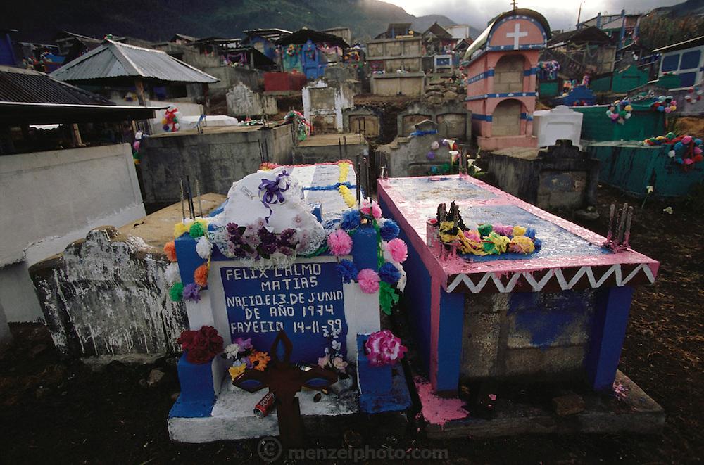 Cemetery on the Day of the Dead in Todos Santos de  Cuchumatan, Guatemala.