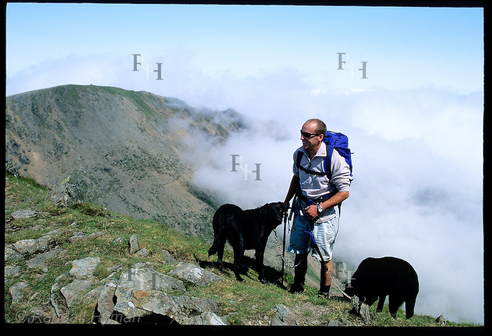 Hiker rests with two black labs near top of Mount Snowdon (3560') on an August day;  Snowdonia National Park, Wales.