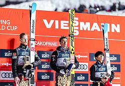20.01.2019, Wielka Krokiew, Zakopane, POL, FIS Weltcup Skisprung, Zakopane, Herren, Siegerehrung, im Bild 2. Platz Robert Johansson (NOR), Sieger Stefan Kraft (AUT), 3. Platz Yukiya Sato (JPN) // 2nd placed Robert Johansson of Norway Winner Stefan Kraft of Austria 3rd placed Yukiya Sato of Japan during the winner ceremony of FIS Ski Jumping world cup at the Wielka Krokiew in Zakopane, Poland on 2019/01/20. EXPA Pictures © 2019, PhotoCredit: EXPA/ JFK