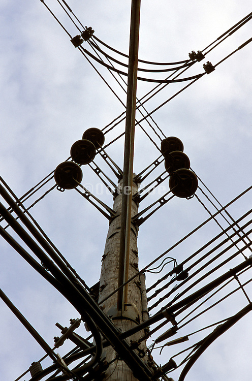 a pole with various lines against a sky