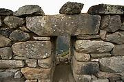 Stone window at Machu Picchu  Peru