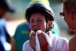 England's Hayley Simmonds reacts after winning bronze in the Women's Individual Time Trial at Currumbin Beachfront on day six of the 2018 Commonwealth Games in the Gold Coast, Australia.