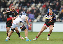 Dragons Jarred Rosser on the attack<br /> <br /> Photographer Mike Jones/Replay Images<br /> <br /> European Rugby Challenge Cup Round 6 - Dragons v Bordeaux Begles - Saturday 20th January 2018 - Rodney Parade - Newport<br /> <br /> World Copyright © Replay Images . All rights reserved. info@replayimages.co.uk - http://replayimages.co.uk