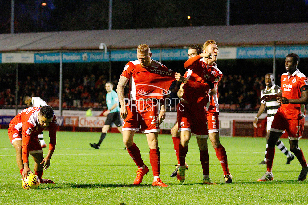 Crawley Town players celebrate a goal from Crawley Town forward Thomas Verheydt (23) (score 1-1) during the EFL Sky Bet League 2 match between Crawley Town and Forest Green Rovers at the Checkatrade.com Stadium, Crawley, England on 11 November 2017. Photo by Andy Walter.