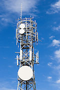 Cellular and microwave antennas  on a square lattice tower in Queensland, Australia. <br />