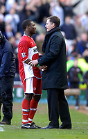 Photo: Jed Wee.<br /> Middlesbrough v Newcastle United. The Barclays Premiership. 09/04/2006.<br /> <br /> Newcastle caretaker manager Glenn Roeder (R) has an extended conversation with Middlesbrough's Yakubu at the end of the game.