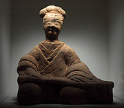 Great sitar player. Eastern Han dynasty (25-220 AD) terra cotta figurine from China