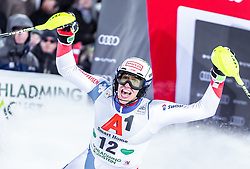 "29.01.2019, Planai, Schladming, AUT, FIS Weltcup Ski Alpin, Slalom, Herren, 2. Lauf, im Bild Ramon Zenhaeusern (SUI) // Ramon Zenhaeusern of Switzerland reacts after his 2nd run of men's Slalom ""the Nightrace"" of FIS ski alpine world cup at the Planai in Schladming, Austria on 2019/01/29. EXPA Pictures © 2019, PhotoCredit: EXPA/ JFK"